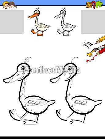 hoja de dibujo y para colorear con ganso - Foto de archivo ...