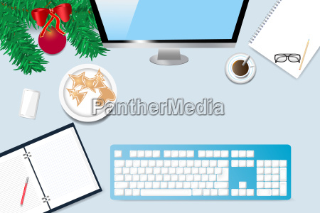 office desk with christmas decoration and