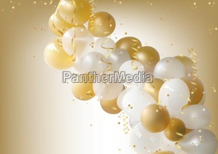 blanco y oro fiesta globos fondo