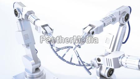representacion 3d brazos de robot que