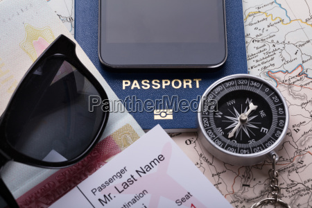 smartphone boarding pass ticket passport and