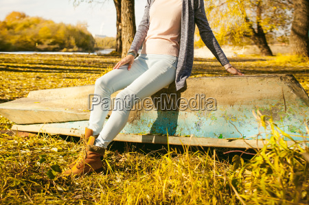 slim girl in blue jeans a