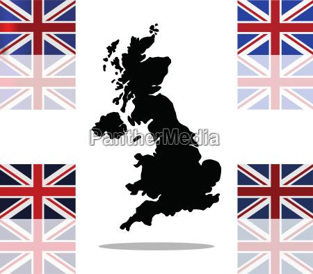 gran bretanya mapa con bandera