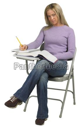 female student at desk