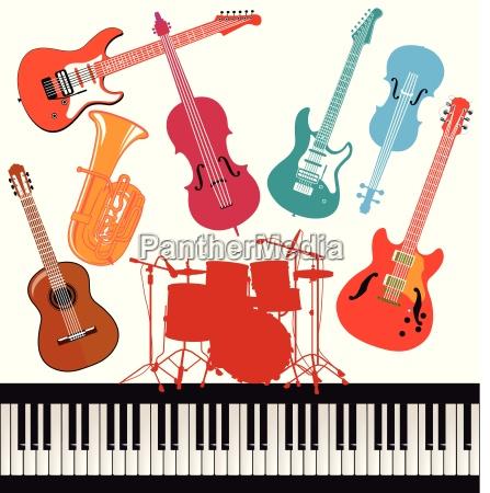 ilustracion colorida musical de los instrumentos