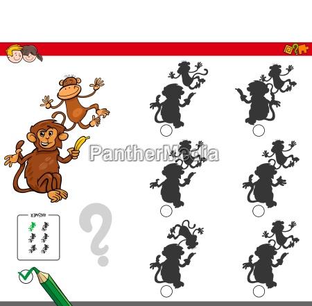 shadow activity game with cartoon monkeys