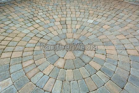 circular pattern brick garden patio
