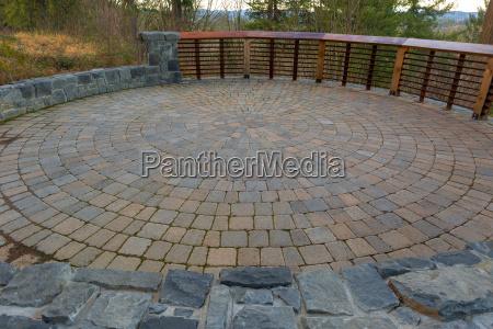 garden backyard circular brick paver patio