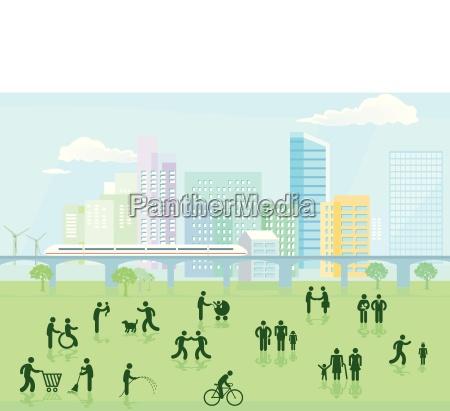 cityscape of a modern big city