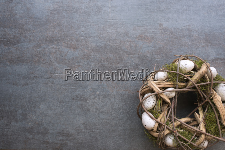 easter eggs in a wreath decorated