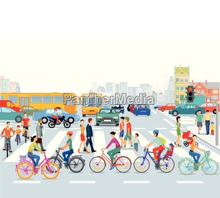 ciudad con traficociclistas y peatonesilustracion