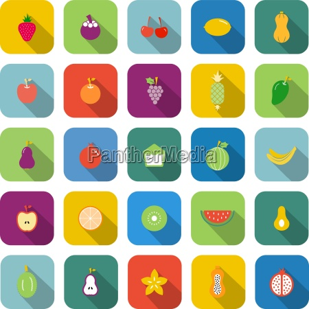 fruit color icons with long shadow