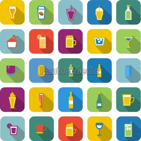 beverage color icons with long shadow