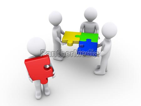 cuatro personas en 3d con piezas