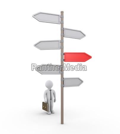 empresario 3d buscando el camino correcto