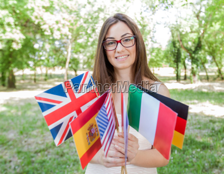 happy student learning languages