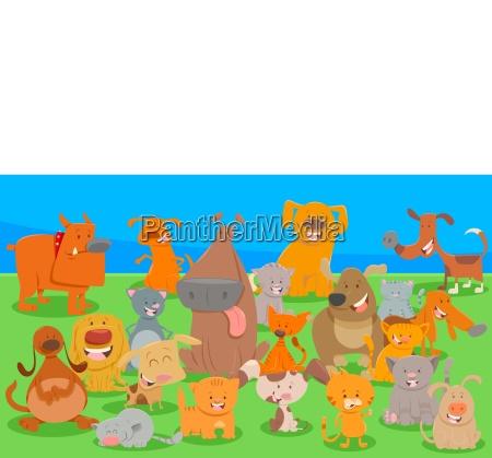 perros y gatos grupo de personajes