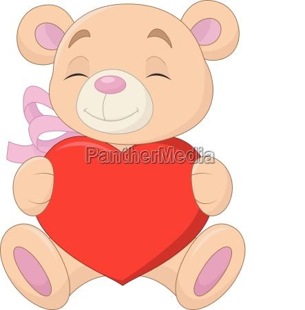 lindo oso sosteniendo el corazon