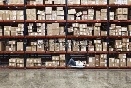 warehouse worker taking a break next