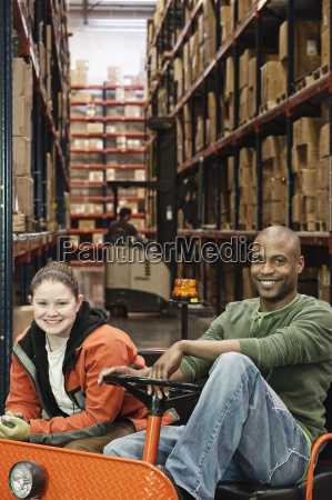 portrait of a caucasian female warehouse
