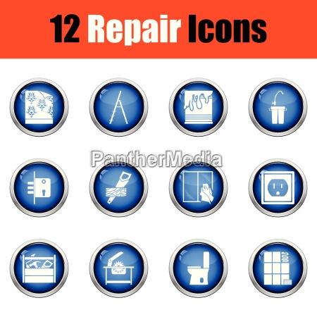 set of repair icons flat design