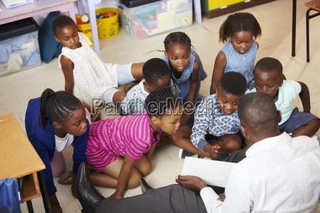 teacher reading kids a book in