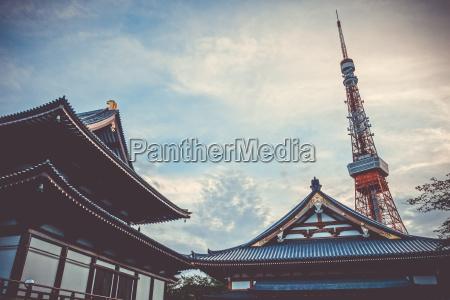 zojo ji temple and tokyo tower