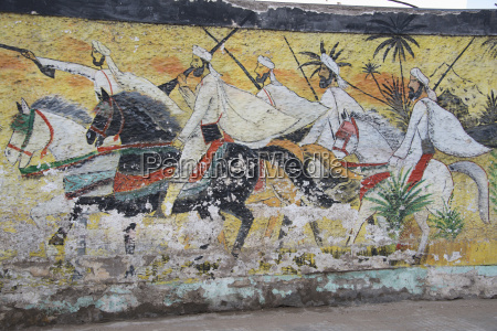 pintura de moros luchadores en caballos