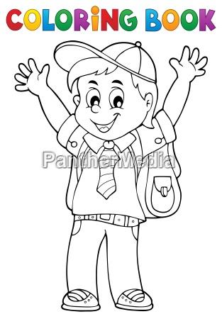 libro de colorear feliz alumno chico tema 1 - Stockphoto - #25451720 ...