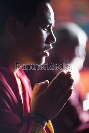 monks in prayer leh ladakh india