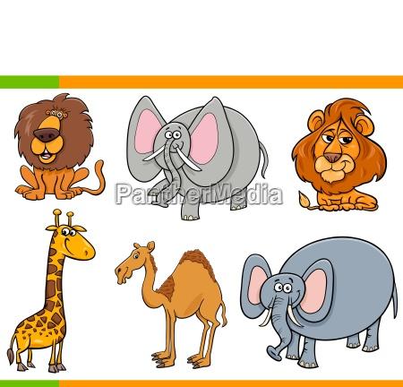 cartoon safari animals funny characters set