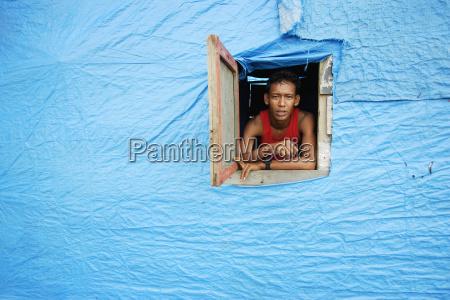 azul casa construccion ventana retrato indonesia