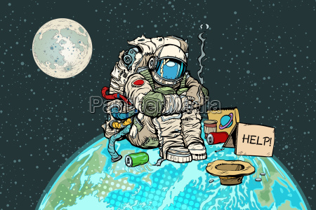 pobre astronauta hambriento en el planeta