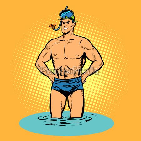nadador en banyadores y mascara para