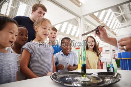 grupo de ninyos y profesores que