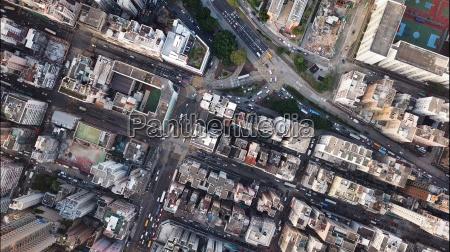 aerial view of hong kong urban