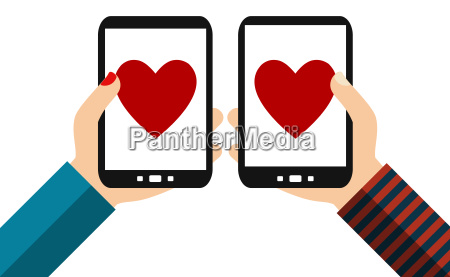 two smartphones hearts flat design