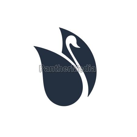 cisne con espacio negativo ilustracion vectorial