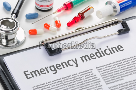 the text emergency medicine written on