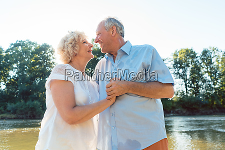 romantic senior couple enjoying a healthy