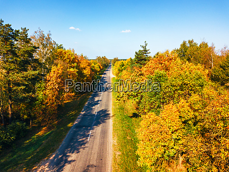 aerial view on countryside road with