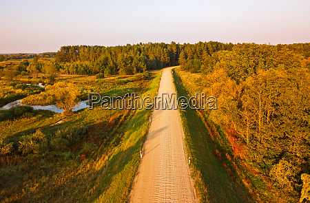 rural dirt road view from above