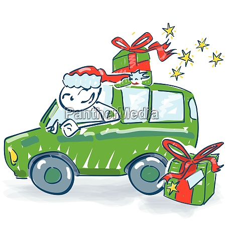 santa claus transports christmas presents by