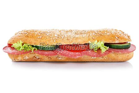 sandwich baguette sub con salami integrales