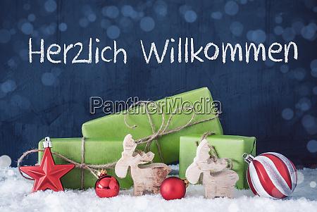 green christmas gifts snow herzlich willkommen