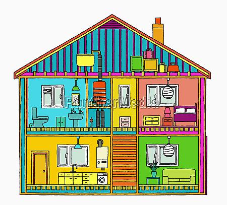 seccion transversal del hogar