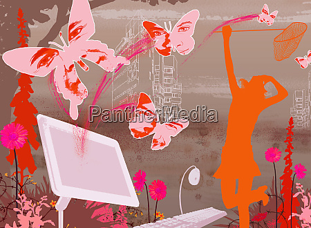woman butterflies and computer