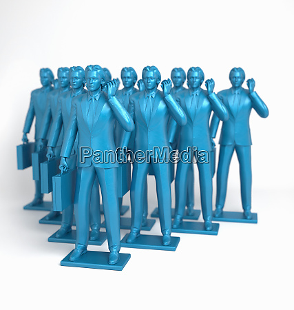 group of blue businessmen figurines using