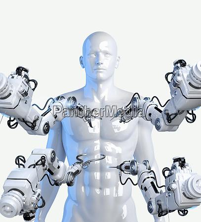 brazos roboticos con herramientas alrededor del