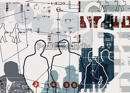 montage of businessmen diagrams and numbers